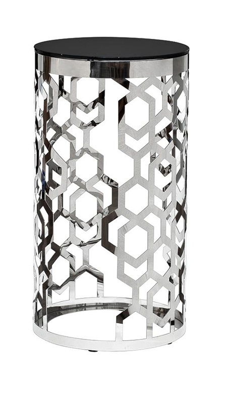 Стол журнальный 13RXFS3053-SILVER стекло черн./серебро d38*70см
