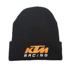 Вязаная шапка с отворотом и вышивкой Cross border KTM, черная