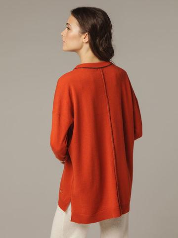 Женский оранжевый джемпер свободного кроя из шерсти и кашемира - фото 7