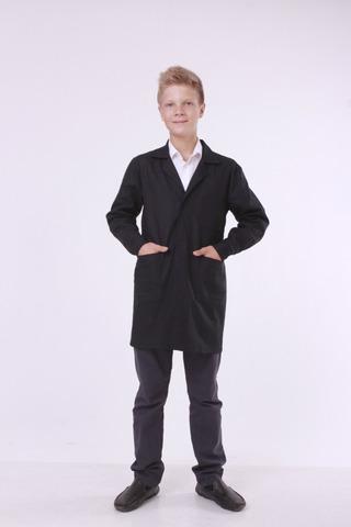 Халат шкільний Garment Factory, бавовна 100%, чорний на липучці, 44 розмір