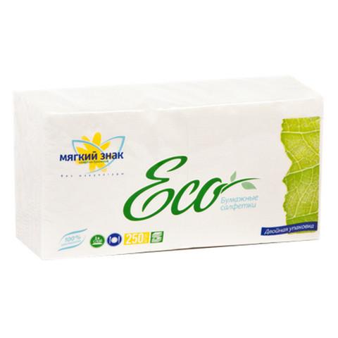 Салфетки бумажные Мягкий знак 24x24 см белые 1-слойные 250 штук в упаковке