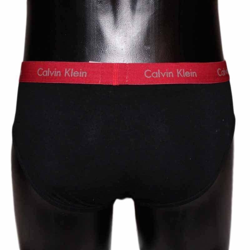 Мужские трусы брифы черные с красной резинкой Calvin Klein CK00486