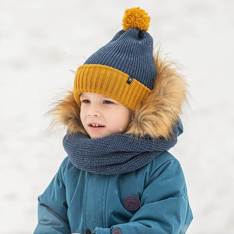 Winter double turn-up hat with ties - Denim & Mustard