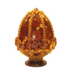 Сувенирное Пасхальное яйцо (натуральный янтарь, бисер), АВ-0744