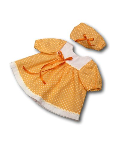 Платье хлопковое - Персик. Одежда для кукол, пупсов и мягких игрушек.