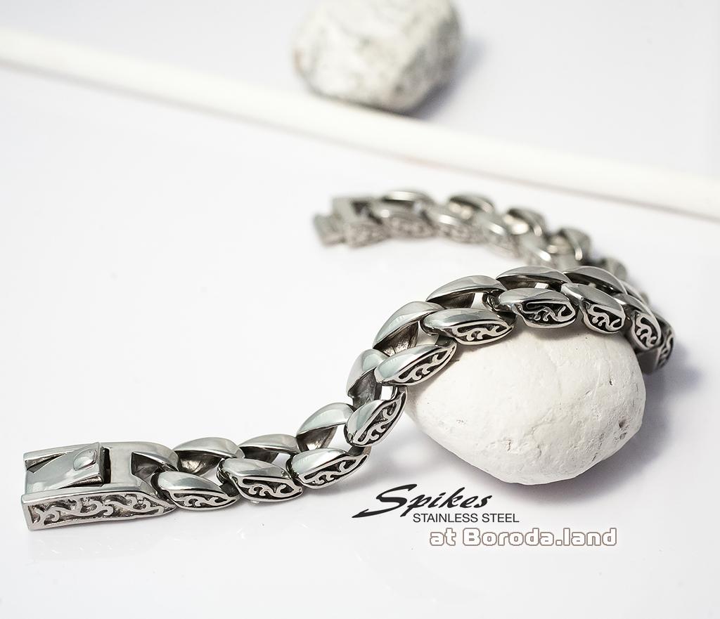 SSBQ-3041 Мужской браслет из ювелирной стали с гравировкой на звеньях, «Spikes», (22 см)