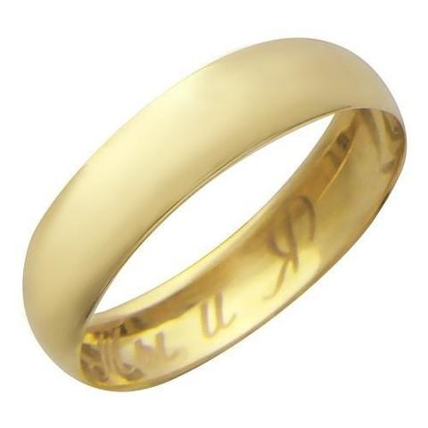 01О030165- Обручальное кольцо из желтого золота с гравировкой