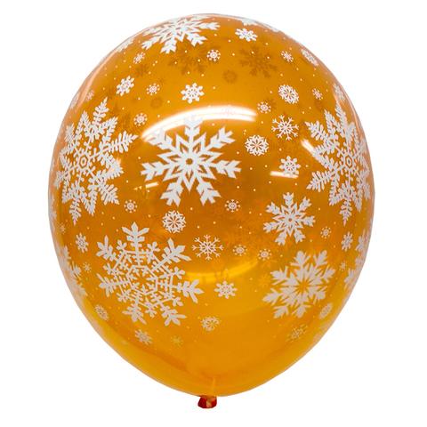 Шар Оранжевый со Снежинками Кристалл