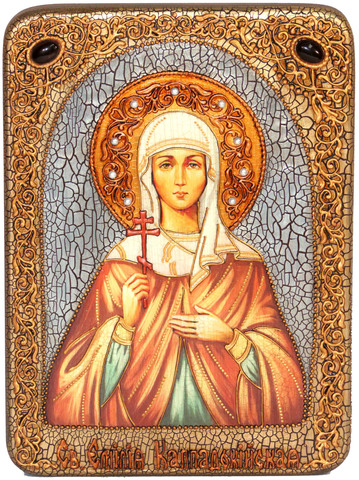 Инкрустированная икона Святая Емилия Кесарийская (Каппадокийская) 29х21см на натуральном дереве, в подарочной коробке