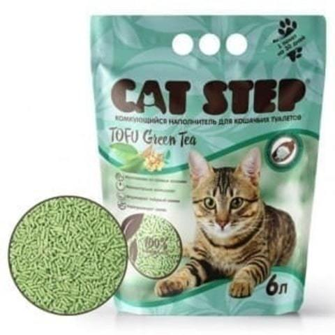 купить кет степ зеленый чай кэт стэп Cat Step Tofu Green Tea 6л наполнитель растительный, комкующийся 6 литров 2.8 кг