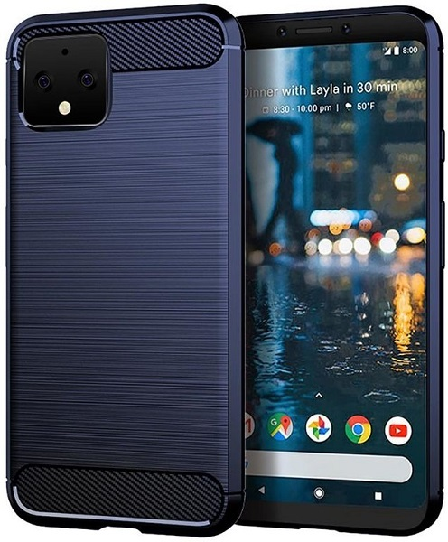 Чехол на Google Pixel 4 XL цвет Blue (синий), серия Carbon от Caseport