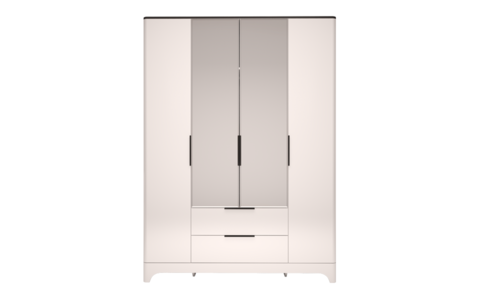Шкаф для одежды четырехдверный с ящиком, с зеркалом Танго 2 Ижмебель белый/черный матовый