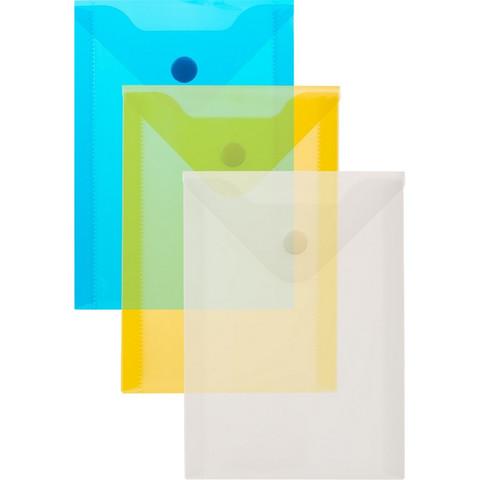Папка -конверт на кнопке А6105x148мм, 180 мкм,Attache  ассорти, 10шт.уп.