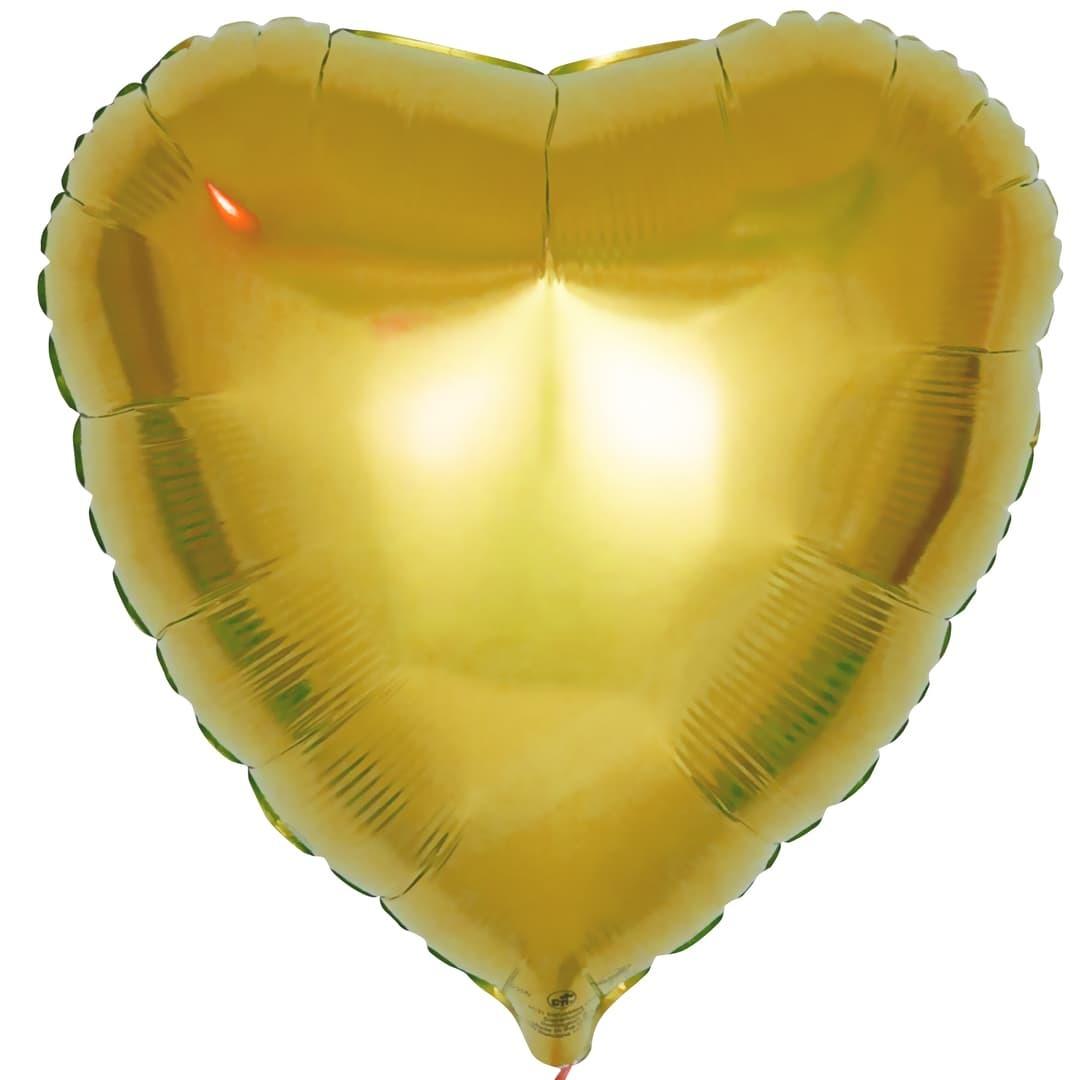 Фольгированный воздушный шар сердце, золотой, 46 см