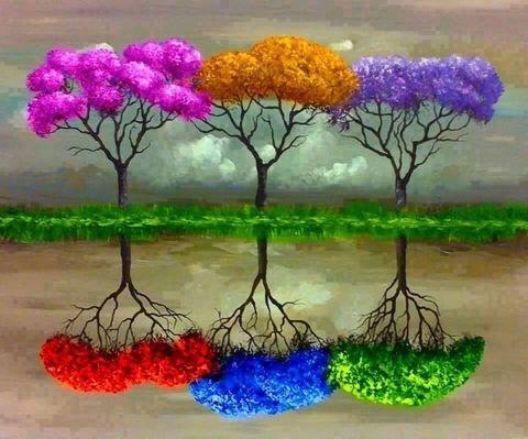 Алмазная Мозаика 40x50 Разноцветные деревья с разноцветным отражением (арт. 2PAV728)