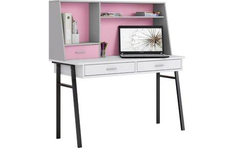 Стол письменный Polini  kids Aviv 1455 с надстройкой и ящиками, белый / серый-розовый