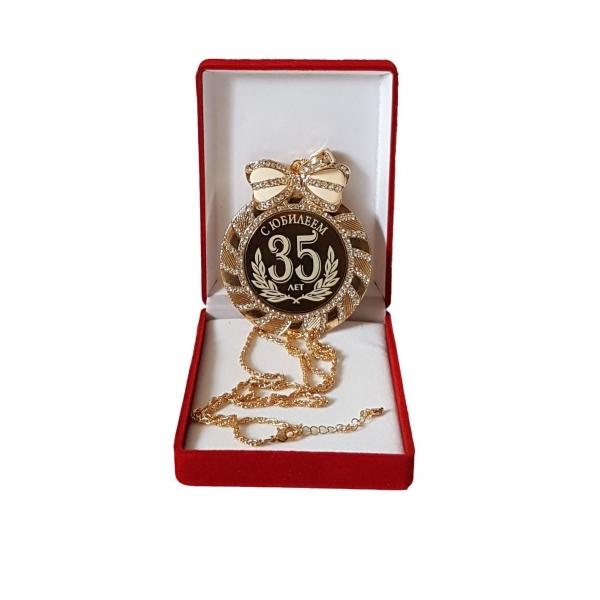 Медаль с Юбилеем 35 лет стразы
