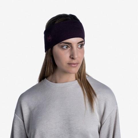 Шерстяная повязка на голову Buff Headband Midweight Wool Solid Deep Purple фото 2