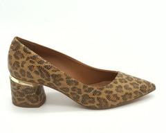 Коричневые кожаные туфли-лодочки с оригинальном принтом