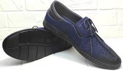 Модные мужские туфли мокасины мужские смарт casual Luciano Bellini 91268-S-321 Black Blue.