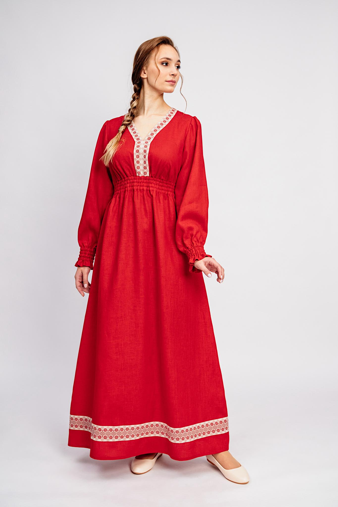 Платье льняное Утренняя роза в русском стиле