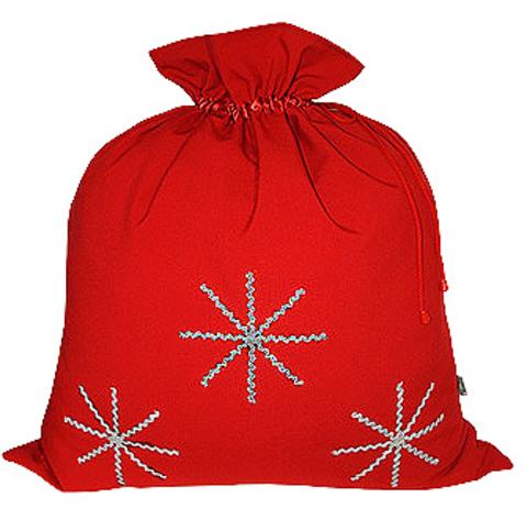 Красный мешок со снежинками
