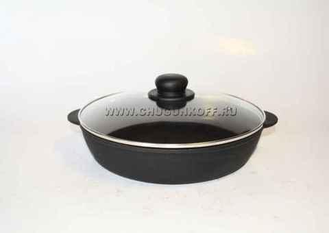 Сковорода чугунная жаровня 280х60 (ЭКОЛИТ) со стеклянной крышкой