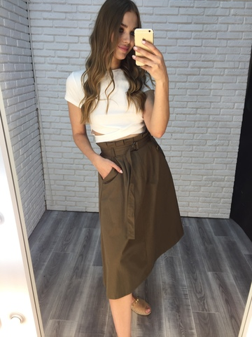 длинная юбка цвета хаки купить