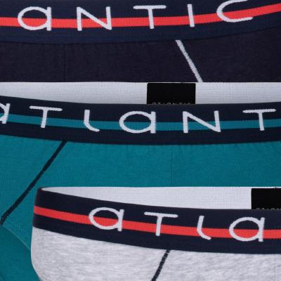 Мужские трусы слипы спорт Atlantic, набор 3 шт., хлопок, темно-синие + зеленые + серый меланж, 3MP-083