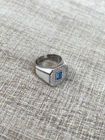 Кольцо Печатка белое, серебро