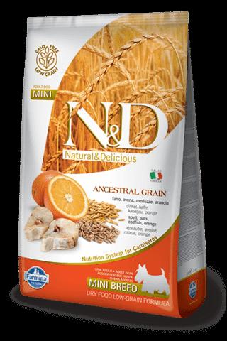 купить Farmina N&D Ancestral Grain Codfish & Orange Adult Mini сухой низкозерновой корм для взрослых собак мелких и карликовых пород