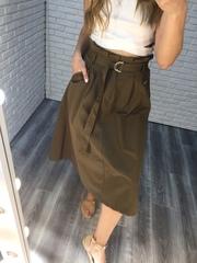 длинная юбка цвета хаки недорого