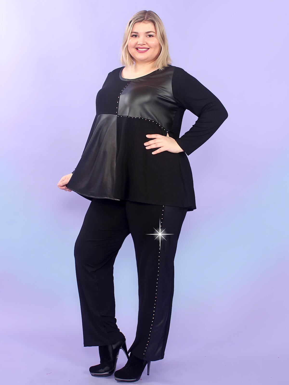 Нарядные черные женские брюки 74 размера