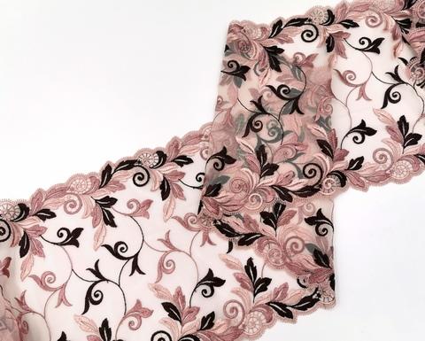 Вышивка на сетке, 23 см, кофейно-розовый, (Арт: VS-1018), м
