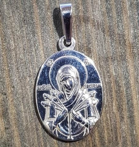 Нательная икона Божия Матерь Семистрельная с серебрением