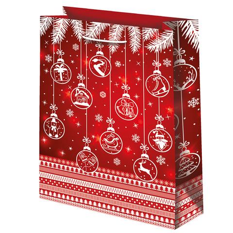 Новогодний подарочный пакет Шары на красном (большой)