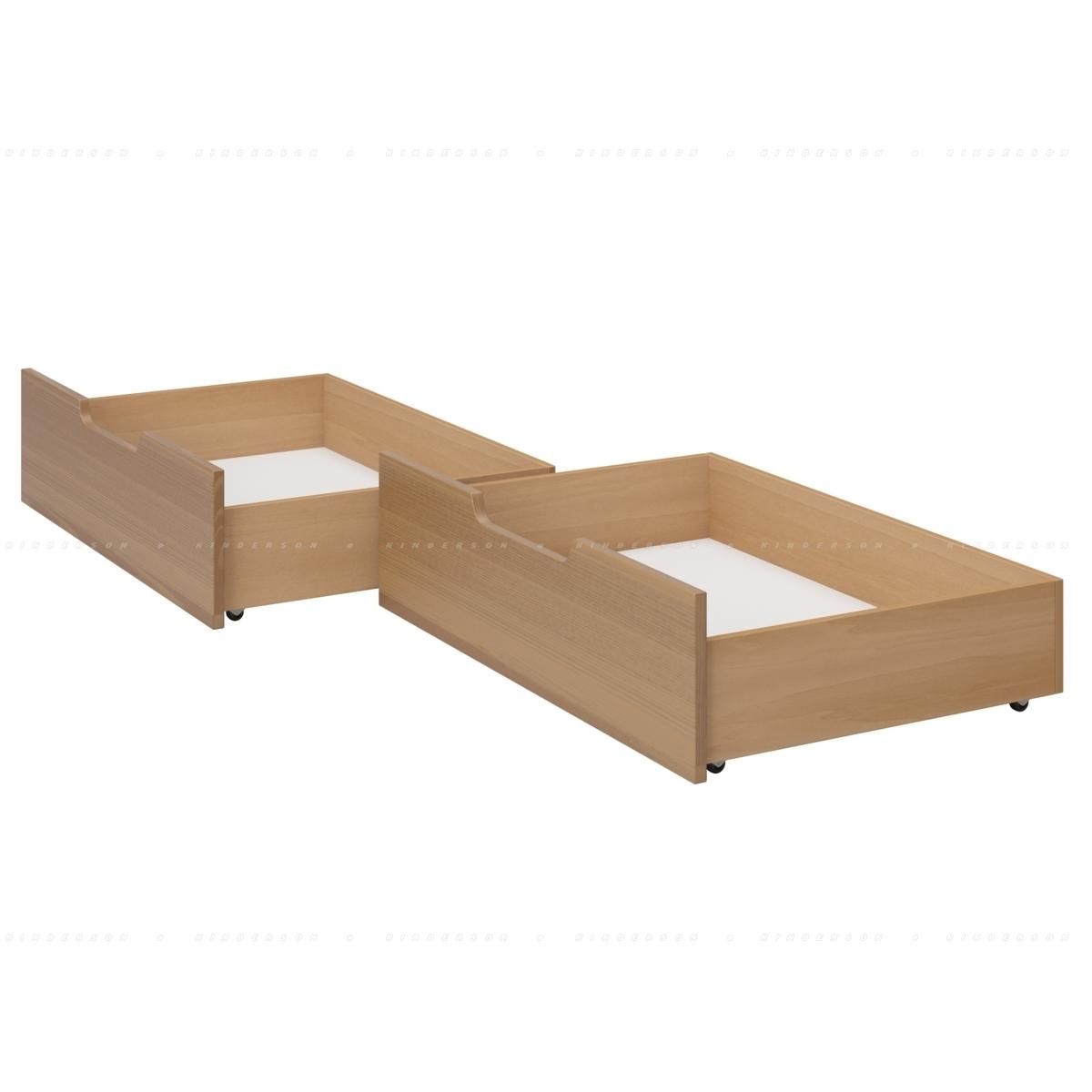 Окрашиваются по периметру в цвет кровати. Дно ящика белое.