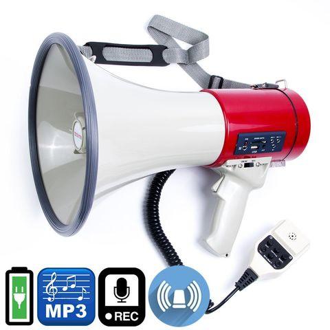 ЭМ-25сзпа ручной мегафон 25Вт, сирена, запись 120 сек, USB/SD mp3 плеер, Li аккумулятор