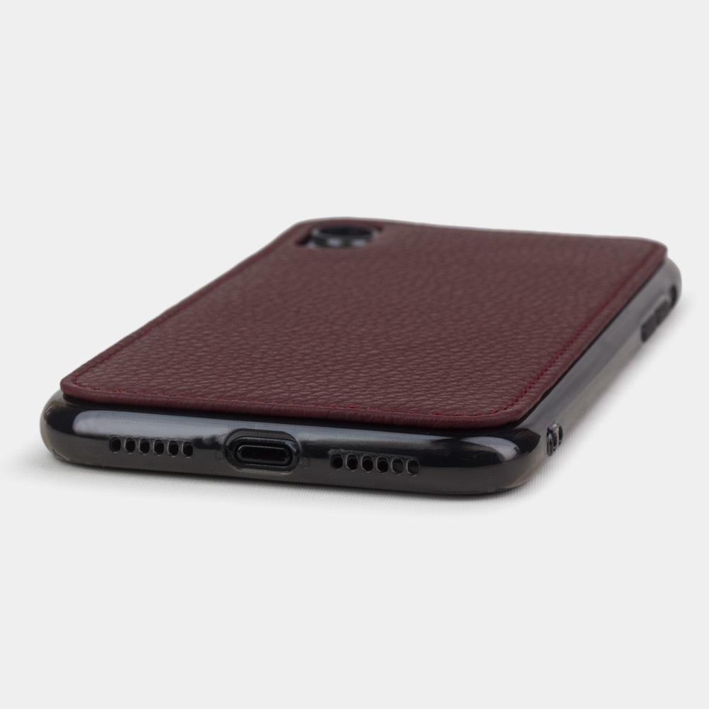 Чехол-накладка для iPhone XR из натуральной кожи теленка, бордового цвета