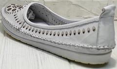 Туфли балетки мокасины белые женские Rozen 212 White.