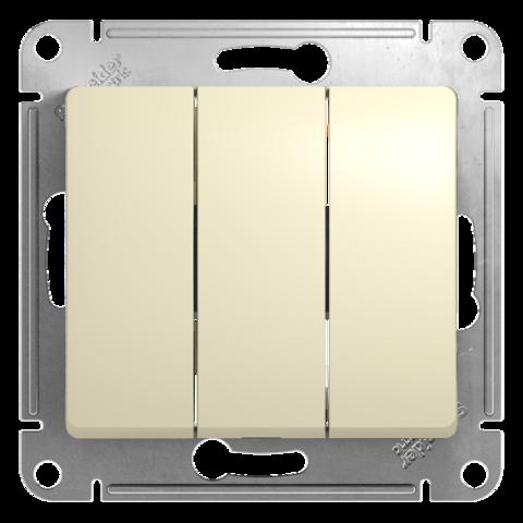 Выключатель трехклавишный, 10АХ. Цвет Бежевый. Schneider Electric Glossa. GSL000231