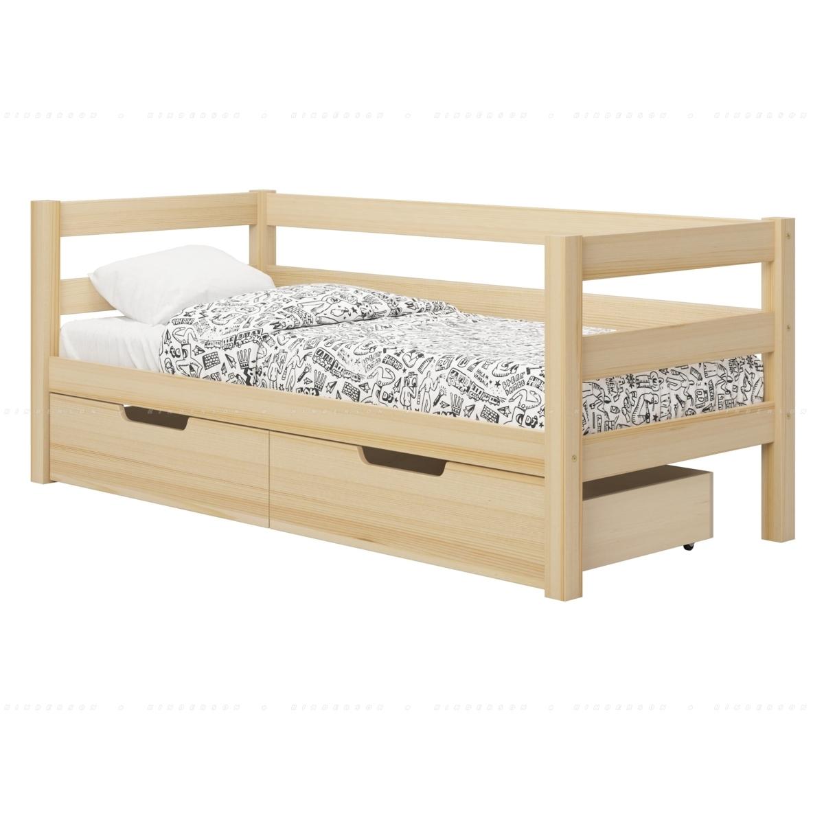 Образец кровати с установленными ящиками.