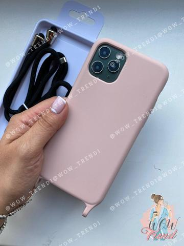 Чехол iPhone XR Silicone Case crossbody bag /pink sand/