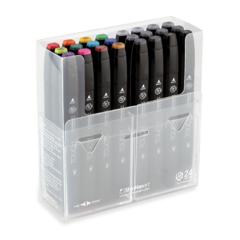Touch Twin набор маркеров для скетчинга 24 шт в кейсе - двусторонние спиртовые пуля/долото