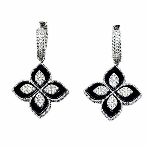 51684- Серьги R.COIN из серебра с черной эмалью и фианитами