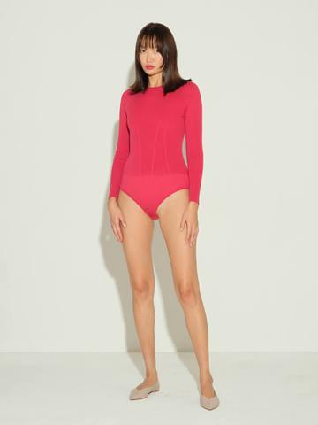 Женское боди красного цвета из шелка и кашемира - фото 2
