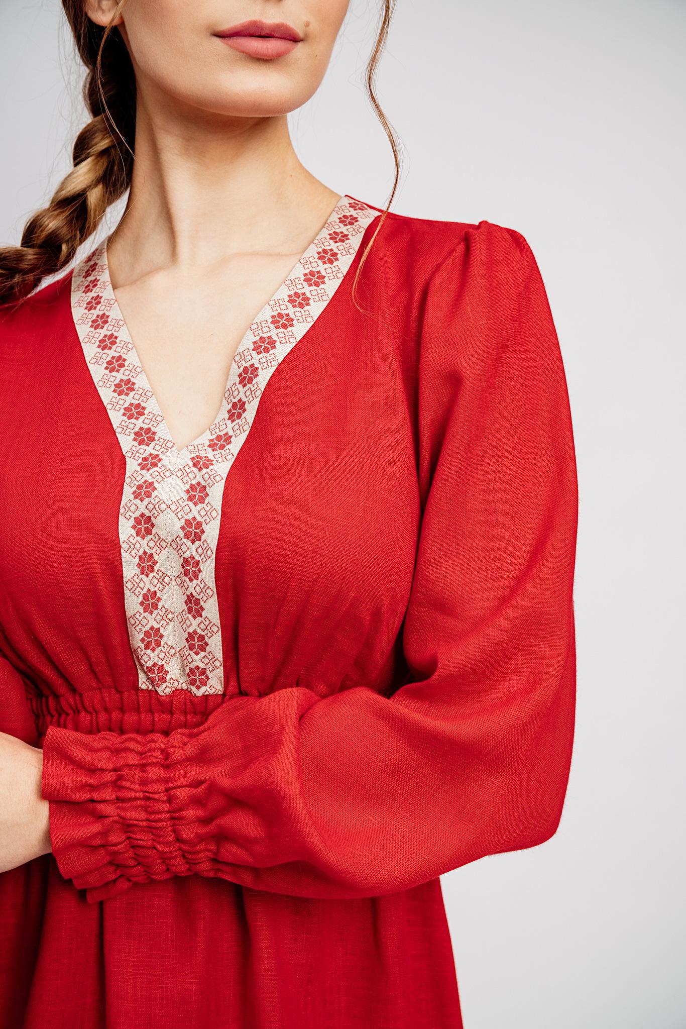 Русское платье из льна Утренняя роза