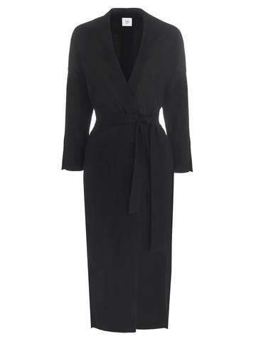 Женский удлиненный кардиган черного цвета из вискозы - фото 1