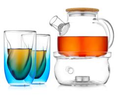 """Заварочный чайник с подогревом от свечи и синими рельефными стаканами - набор """"Бамбук Sb2"""""""