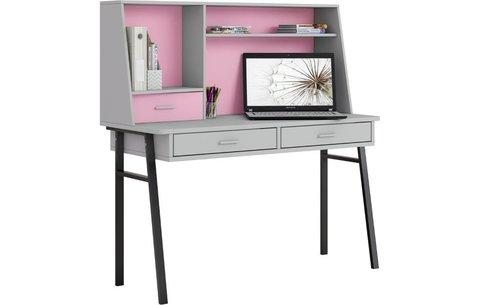 Стол письменный Polini  kids Aviv 1455 с надстройкой и ящиками, серый / серый-розовый